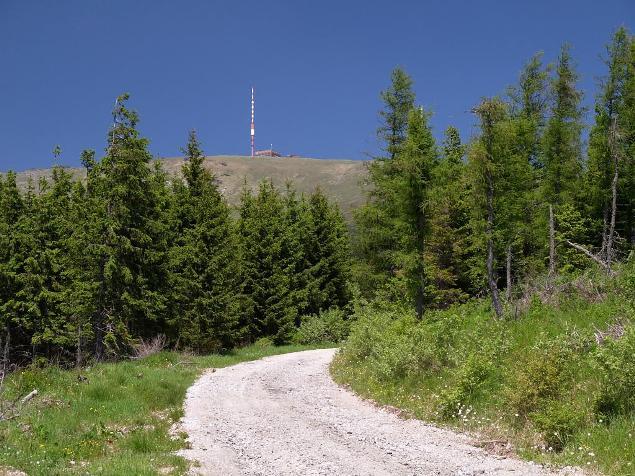 štrkovo-kamenistý úsek cesty na vrchol Kráľovej Hole