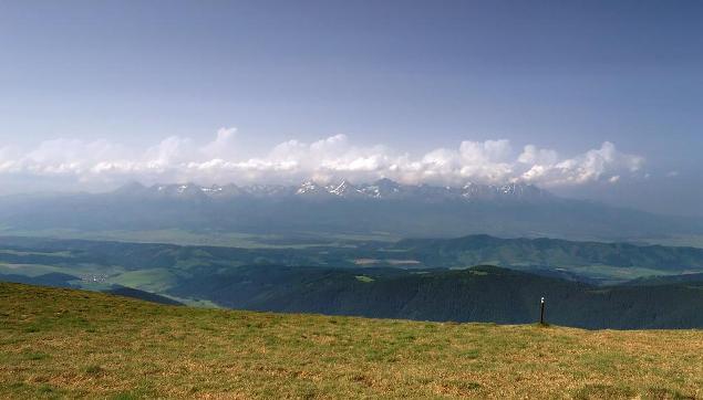 pohľad na Vysoké Tatry z Kráľovej Hole