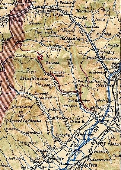 Mapka s vyznačenou traťou LŽ. © Zbierka Petr Joachymstál