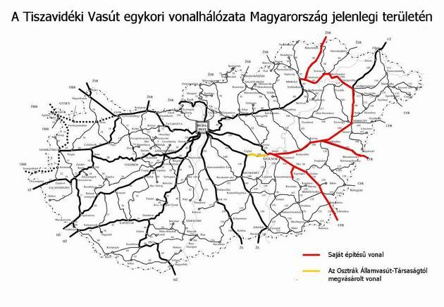 Mapa súčasnej železničnej siete MÁV s vyznačenými traťami bývalej TVV
