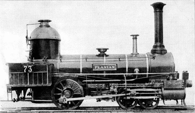 """Rušeň """"PLANIAN"""" s usporiadaním pojazdu 2´A """"Philadelphia"""" z roku 1844 (?), výrobca Meyer Mylhouse, konštrukčne"""