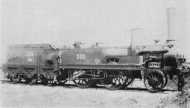 """Rušeň Tiskej železnice """"PEST"""" z roku 1858, usporiadanie pojazdu 1B, výrobca StEG, trieda Ib, inv. č. 310."""