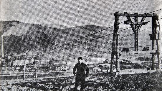Nejstarší provedení lanové dráhy od železáren ke Slovinkám