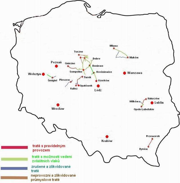 Mapa úzkokolejných železnic popisovaných v článku