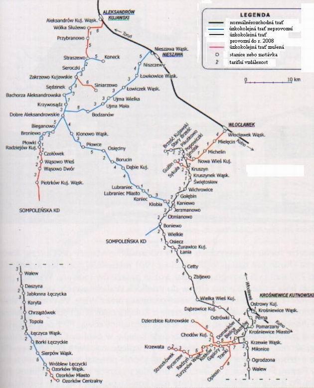 Mapa Krośniewicke Koleji Dojazdowe