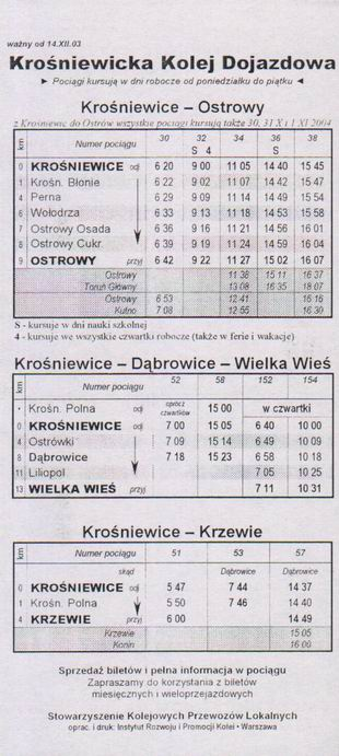 Jízdní řád Krośniewicke Koleji Dojazdowe z roku 2003