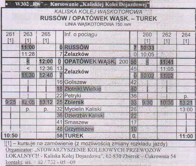 Jízdní řád Kaliske Koleji Dojazdowe obsahující již vlaky pouze na objednávku