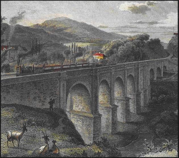 Červený most pri Bratislave s parným vlakom. L. Rohbock, F. Hablitschek (faksimile z oceľorytiny, originál v GMB Bratislava), cca 1855. 165 x 114. (Zbierka autor)