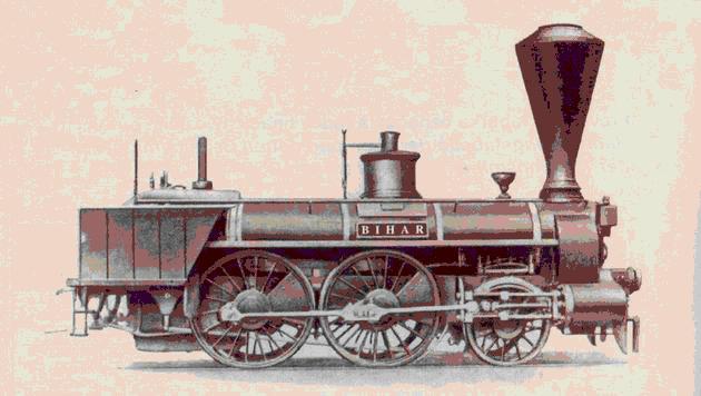 """Parný rušeň """"BIHAR"""", ktorý dňa 20. augusta 1848 priviezol prvý parný vlak z Viedne do Bratislavy. (Zdroj: Katalóg historických železničných vozidiel na území Slovenska, 2002)"""