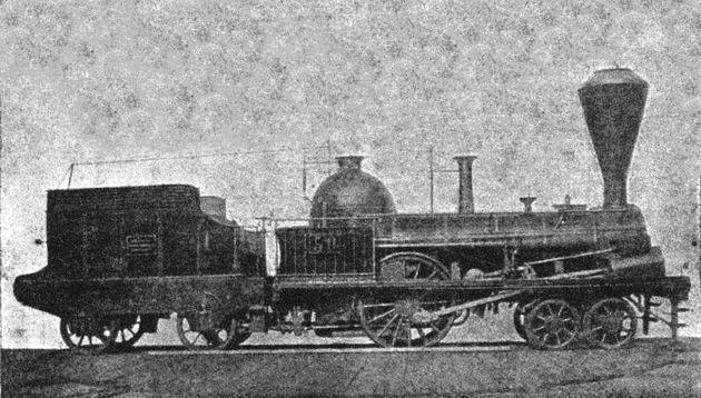 """Rušeň """"SAATZ"""" s usporiadaním pojazdu 2´A """"Philadelphia"""" z roku 1846, výrobca Cockerill Seraing, dodaný pre NStB. Takmer zhodné rušne dostala v tom čase aj UZB. (Zdroj: de.wikipedia.org)."""
