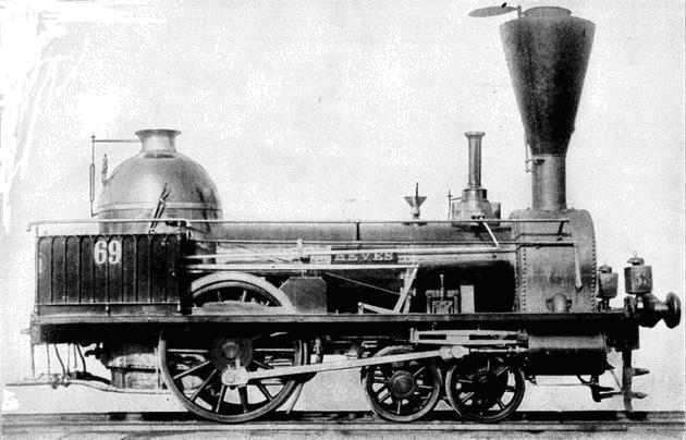"""Rušeň """"HEVES"""" s usporiadaním pojazdu 2´A """"Philadelphia"""" z roku 1846, výrobca Cockerill Seraing. (Zdroj: de.wikipedia.org)."""