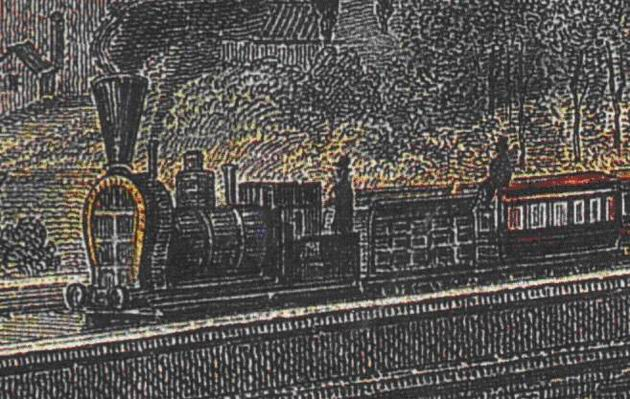 "Červený most pri Bratislave s parným vlakom – výrez s rušňom ""VINDOBONA"". L. Rohbock, F. Hablitschek (faksimile z oceľorytiny, originál v GMB Bratislava), cca 1855. (Zbierka autor)"