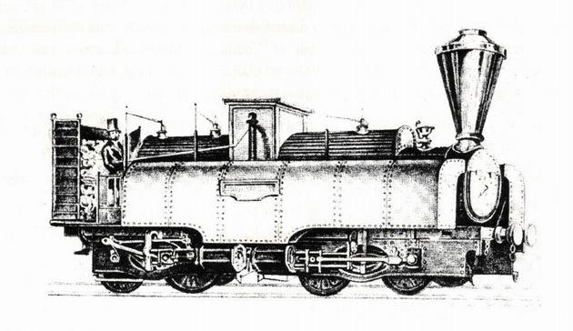 "Rušeň ""WIENER NEUSTADT"" s usporiadaním pojazdu B´B´ z roku 1851, výrobca Günther Wiener Neustadt. (Zdroj: Technické zprávy StEG č. 14)."