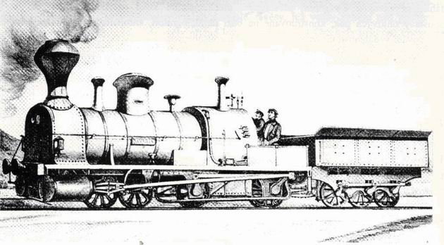 """Rušeň """"BAVARIA"""" s usporiadaním pojazdu B´BC z roku 1851, výrobca Cockerill Seraing. (Zdroj: Technické zprávy StEG č. 14)."""