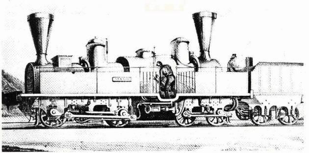 """Rušeň """"SERAING"""" s usporiadaním pojazdu B´B´ z roku 1851, výrobca Maffei München-Hirschau. (Zdroj: Technické zprávy StEG č. 14)."""