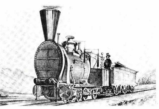 """Rušeň """"VINDOBONA"""" s usporiadaním pojazdu D z roku 1851, výrobca Haswell Wien. (Zdroj: Technické zprávy StEG č. 14)."""