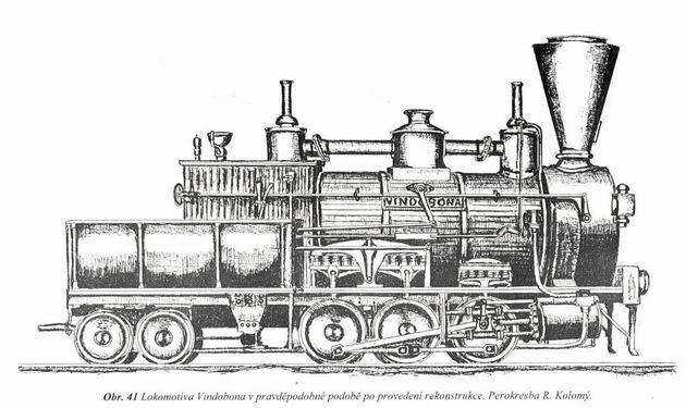 "Rušeň ""VINDOBONA"". Pravdepodobná podoba rušňa po vykonanej rekonštrukcii. (Zdroj: Technické zprávy StEG č. 14)."