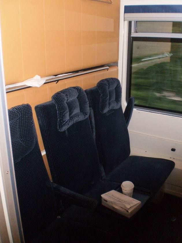 Interiér lůžkového vozu řady WLABmz DB v denní úpravě. 16.8.2011 © Jan Přikryl
