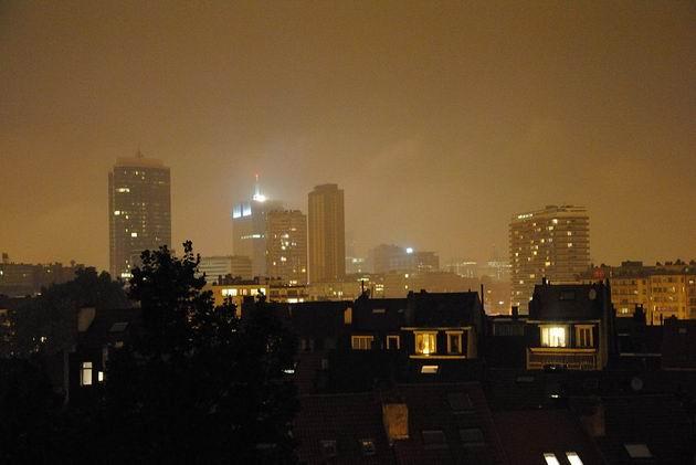 Brusel: večerní panorama centra města z balkonu hotelu. 18.8.2011 © Lukáš Uhlíř