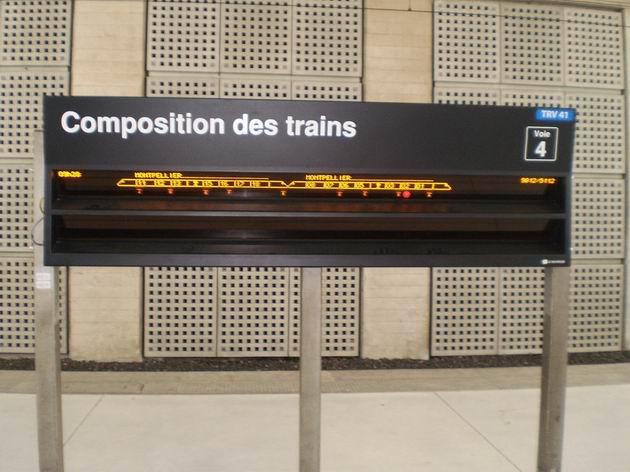 Digitální informace o řazení vlaku na nástupišti stanice Paris-Charles de Gaulle. 22.8.2011 © Jan Přikryl