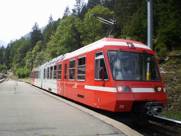 Úzkorozchodná elektrická jednotka řady BDeh 4/8 TMR stojí vešvýcarské pohraniční stanici Le Châtellard-frontiére. 23.8.2011 © Jan Přikryl