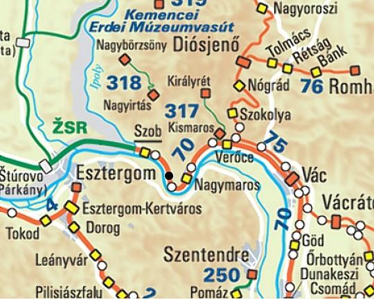 Mapa železničnej trate máv č. 70. nezjazdné miesto označuje