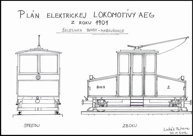 Približný plán elektrickej lokomotívy AEG zo železnice Bindt – Markušovce (podvozok lokomotívy medzi podlahou skrine a pluhom je predpokladaný) (kresba: Lukáš Patera)