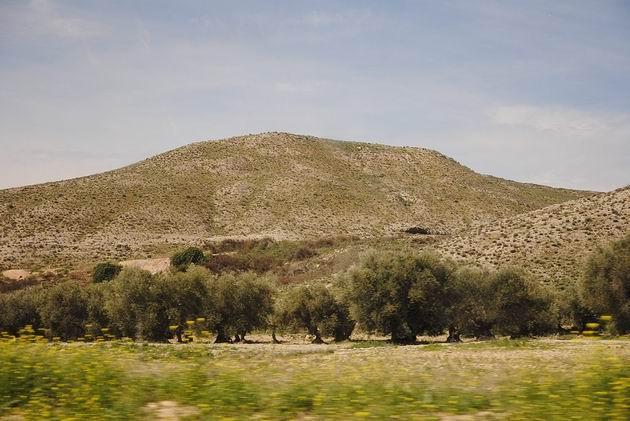 Vyprahlá hornatá krajina mezi zrušenou zastávkou  Seseña a Aranjuezem. 15.4.2013 © Lukáš Uhlíř